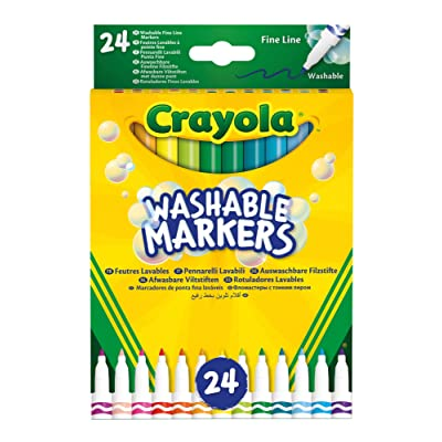 Crayola-24 Washable Markers Fine Tip Assorted Colours for School and Leisure Time 58-6571: Toys & Games