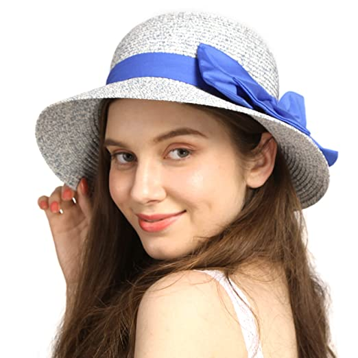 7d0b93cec Wasolola Straw Hat for Women Foldable Travel Sun Beach Summer Hat Wide Brim  UV Protection with Fashion Bow