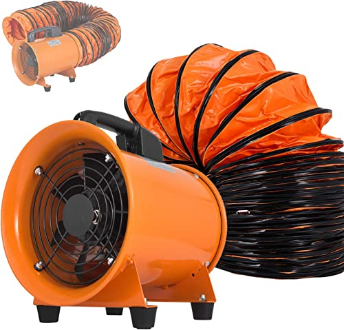 OrangeA Utility Blower Fan 8 inch Portable Ventilator High Velocity Utility Blower Mighty Mini Low Noise