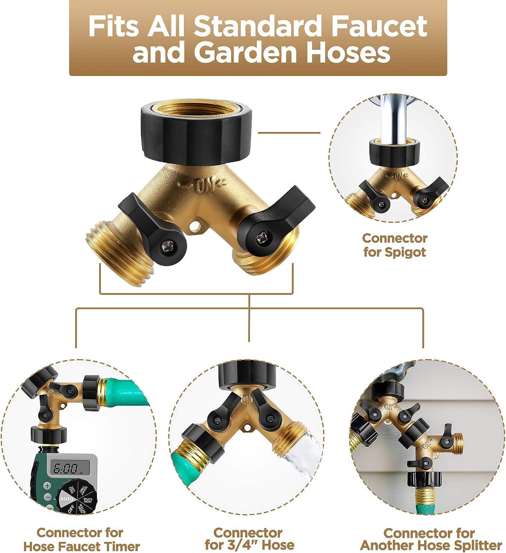 Solid Brass Body Backyard 2 Way Y Valve Garden Hose Connector Splitter Adapter