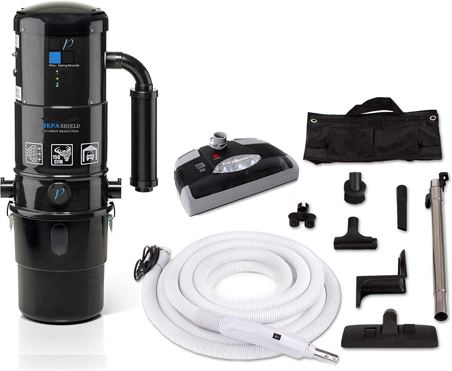 Prolux CV12000 Black Central Vacuum Unit System with Electric Hose Power Nozzle Kit and 25 Year Warranty