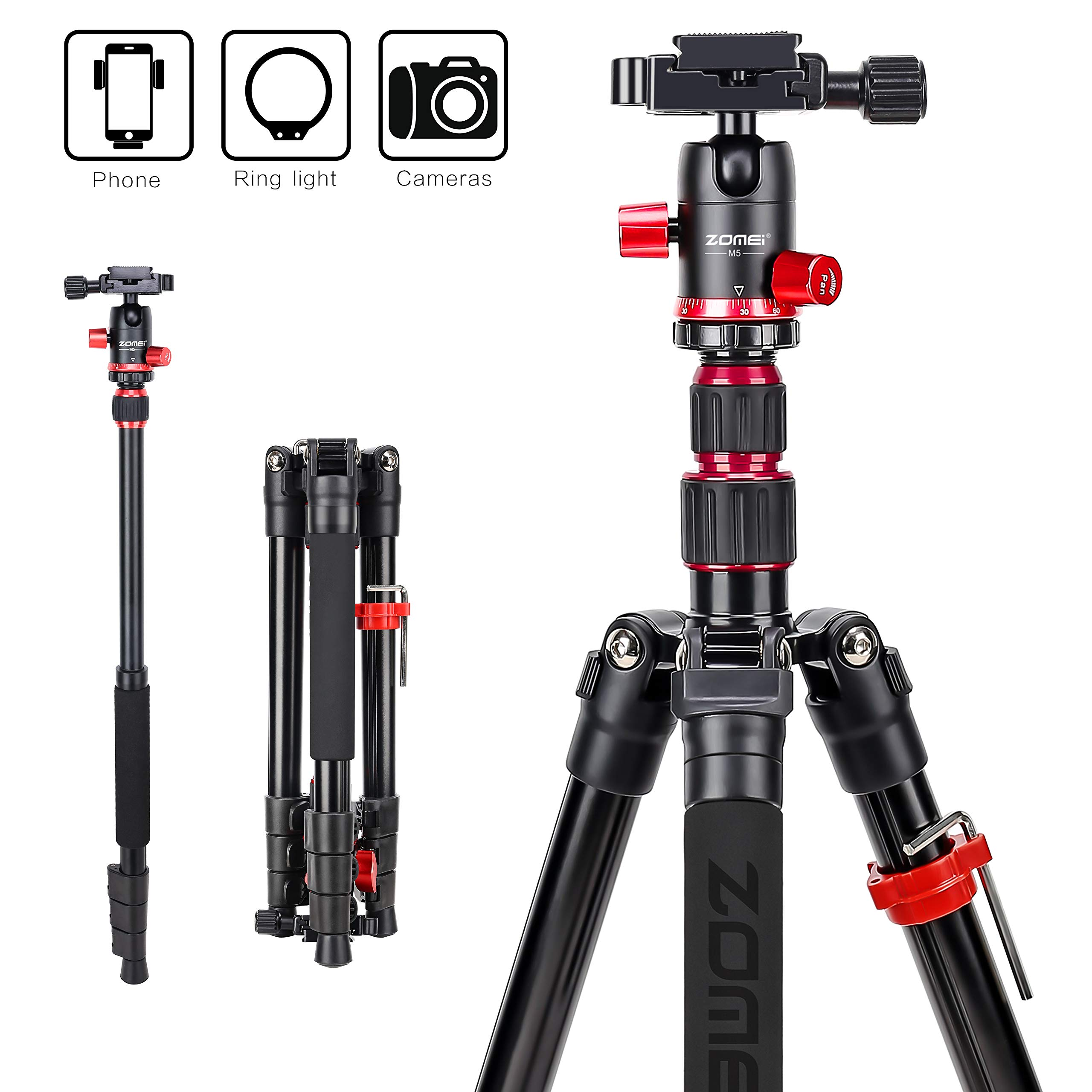 Zomei M5 Travel Camera Tripod,Lightweight Aluminum Tripod Compact Portable Stand with 360 Degree Ball Head and Carry Bag for Canon Nikon Sony Samsung Olympus DSLR