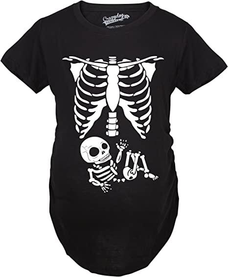 9240413e1 Maternity Skeleton Baby Shirt Halloween Costumes Holiday Funny Pregnancy  Shirts (Black) 3XL