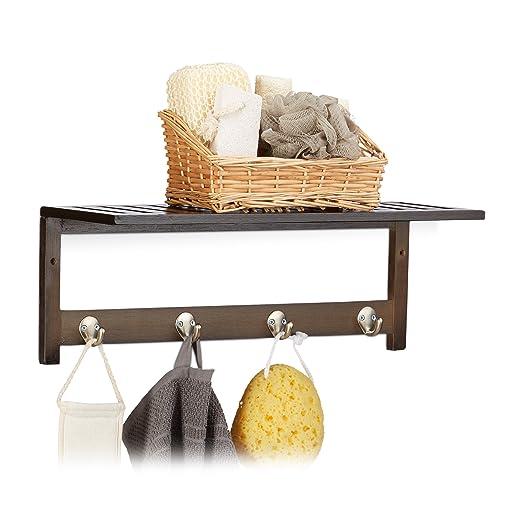 Relaxdays Estante de Pared con 4 Ganchos, 17,5 x 50 x 16 cm, bambú, toallero, Perchero, Libre, Blanco, Metal