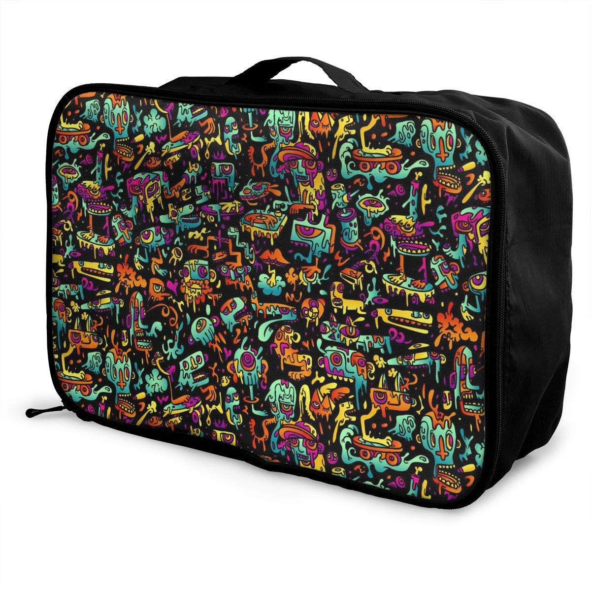 Travel Lightweight Waterproof Foldable Storage Carry Luggage Duffle Tote Bag Psychedelic Trippy DJ Art Black JTRVW Luggage Bags for Travel