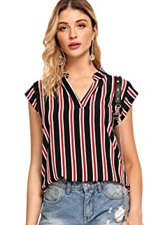 a011c8bea71505 MAKEMECHIC Women s Casual Summer Notch V Neck Cap Sleeve Stripe Blouses Tops
