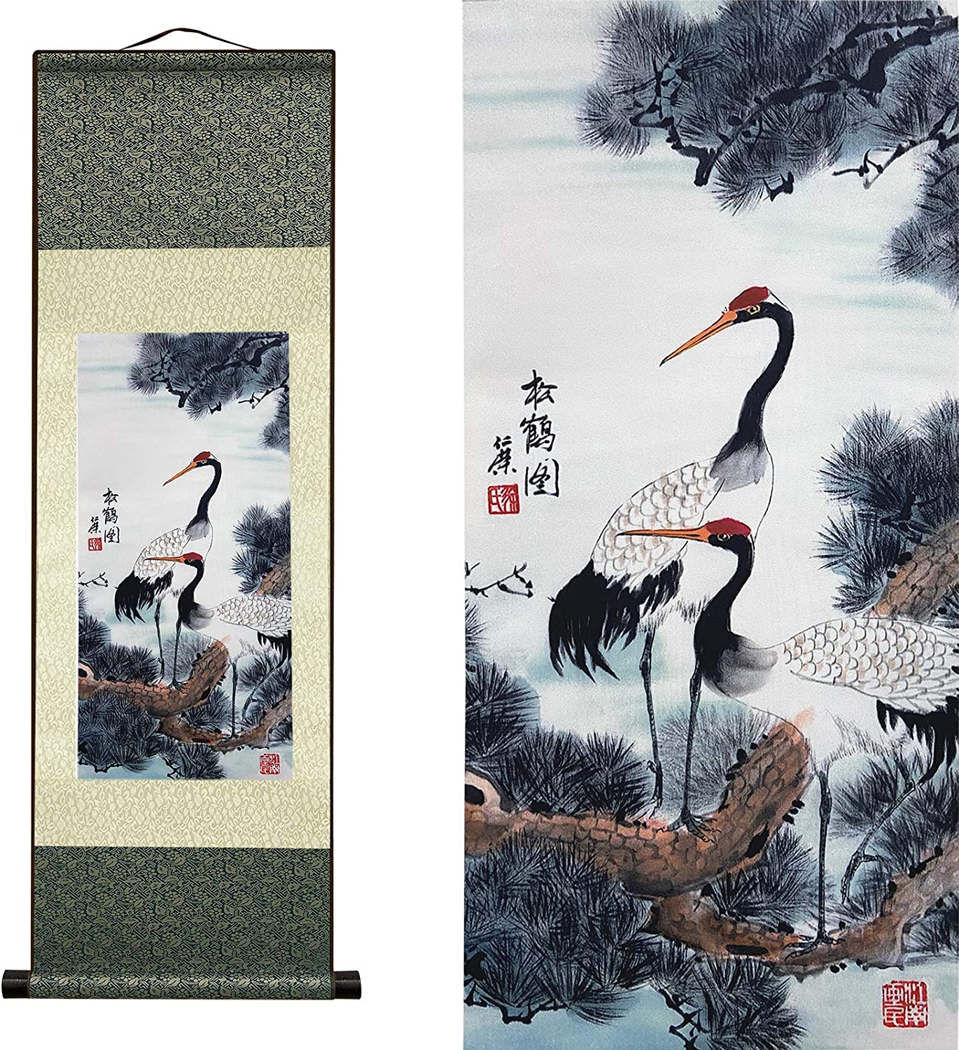 AtfArt Beautiful Scroll Wall Hanging,White Crane (39 inches x 12 inches)