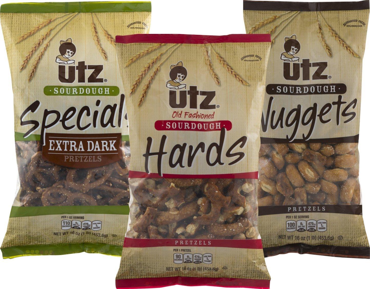 Utz Sourdough Extra Dark, Hards, Nuggets Pretzel Variety 3- Pack (16 oz. Bags)
