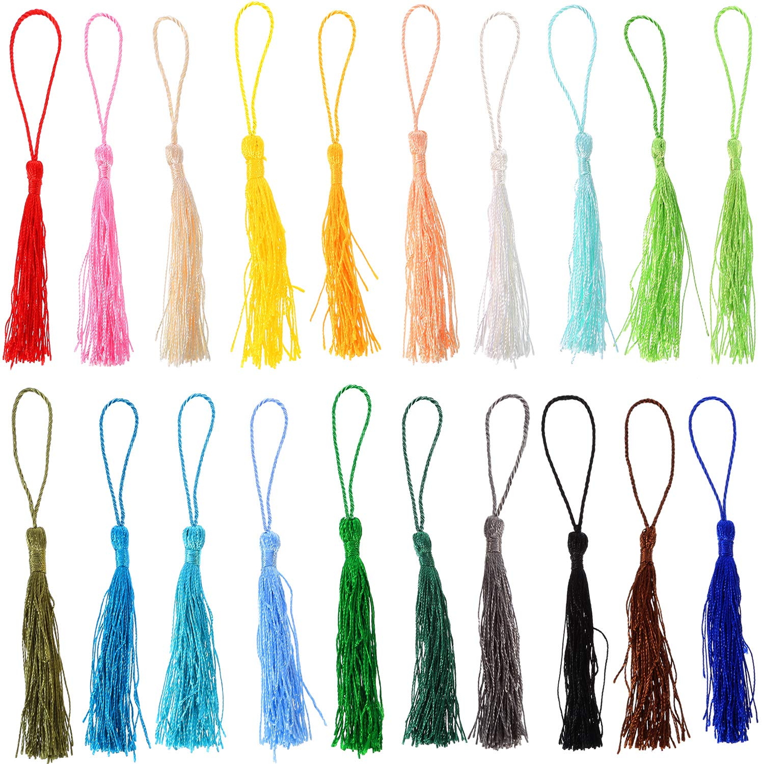TecUnite 120 Pieces 13 cm/ 5 inch Handmade Silky Soft Craft Mini Tassels with Loops for DIY Projects, Jewelry Making, Decoration, Bookmarks, 20 Colors, 6 Pieces Each Color 4337038518
