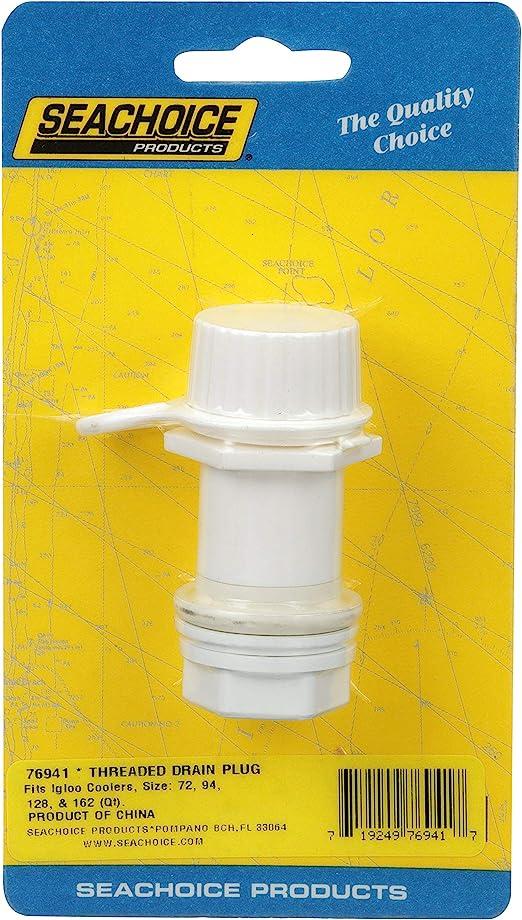 Fits 72-Quart To 162-Quart Seachoice 76941 Threaded Cooler Drain Plug Plastic