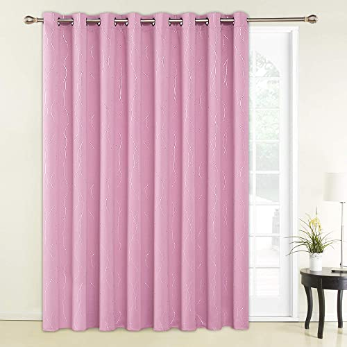 Deconovo Wide Blackout Room Curtain Wave Line with Dots Foil Printed Blackout Drapes Grommet Light Blocking Curtain for Girls Room 100W x 95L Inch Pink 1 Panel