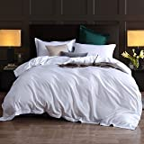 Duvet Cover King,3 Piece Bedding Sets 100% Egyptian Cotton 1200 Thread Count Comforter Cover and 2 Pillow Cases,White-106x90I