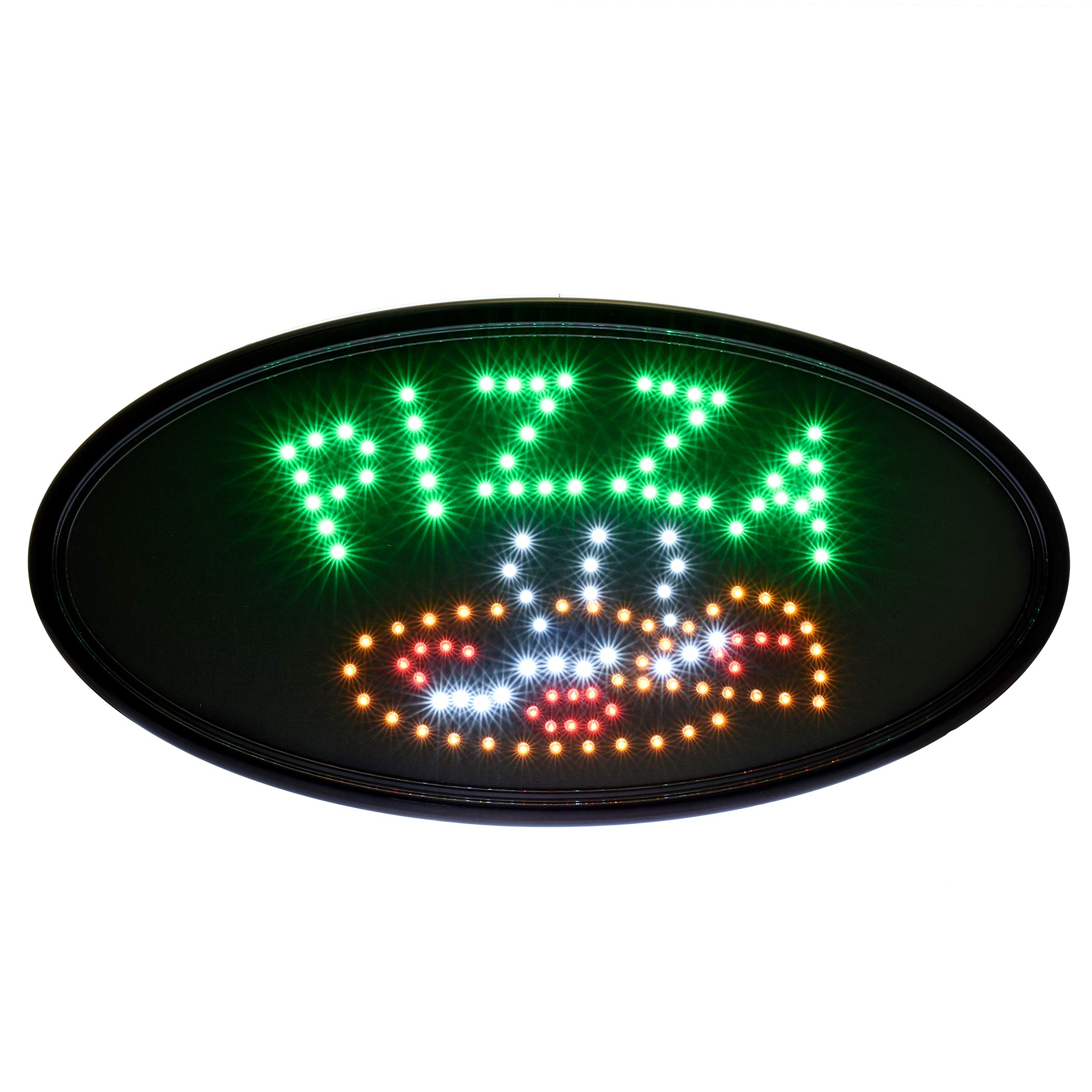 Alpine Industries LED Pizza Sign (Oval) - Commercial Grade Eye Catching Store Sign - Contemporary Look & Customer Attraction - Ideal for Business Use (23'' x 14'') by Alpine Industries