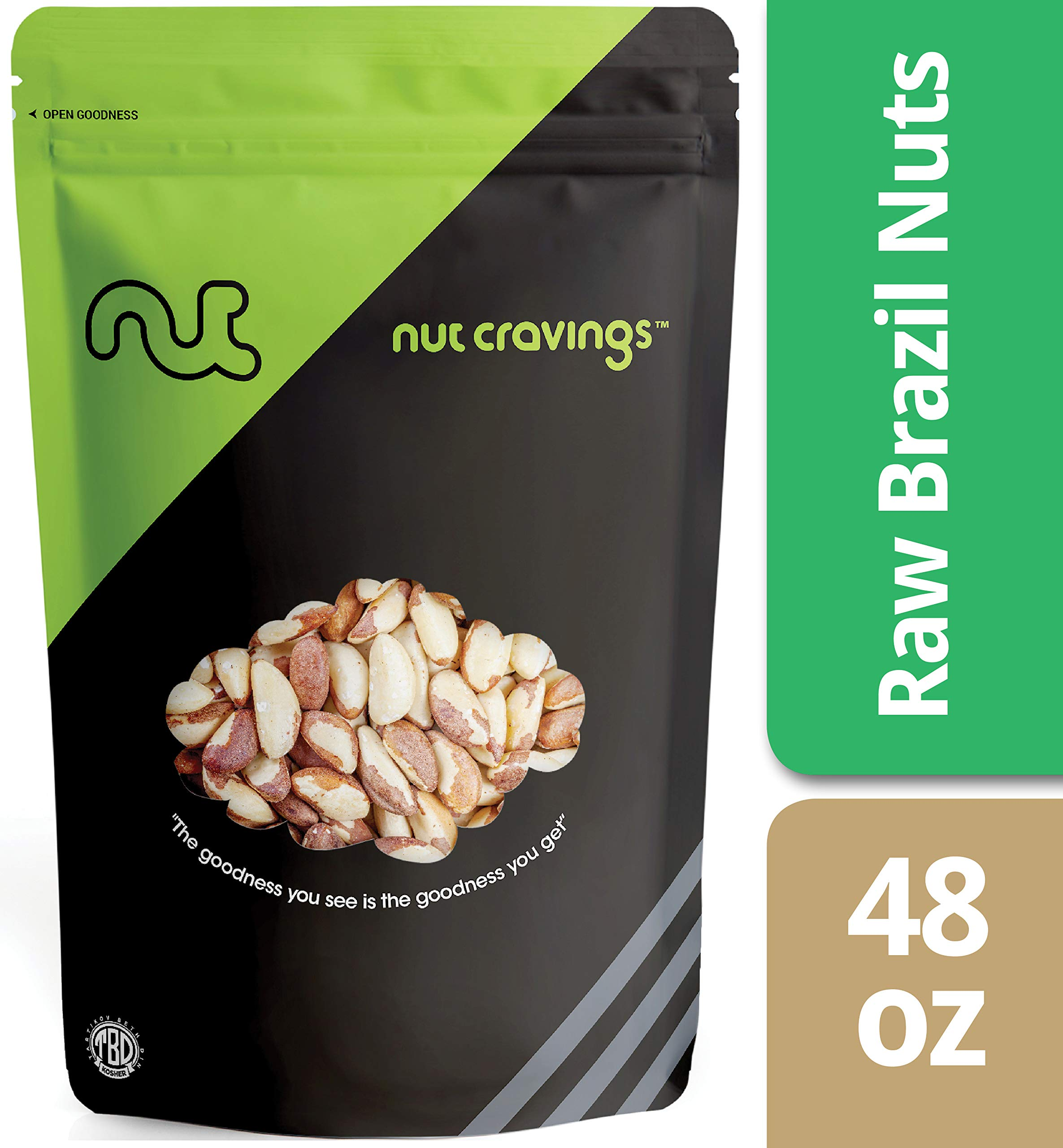 Nut Cravings Raw Compare To Organic Brazil Nuts (3 Pounds) – Whole, Unsalted, No Shell Brazilian Nuts – 48 Ounce by Nut Cravings (Image #1)