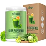 Green Superfood by Natrogix Super Greens Powder - 32 Whole Food Ingredients - Spirulina, Chlorella, Spinach, Barley / Wheat Grass…Probiotics Enzymes for Digestion Health. 8.5 oz 30 Day, Upgraded Taste