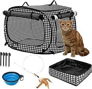 para viajes impermeable port/átil Adkwse Bandeja para gatos plegable con tapa para almacenamiento para interiores y exteriores