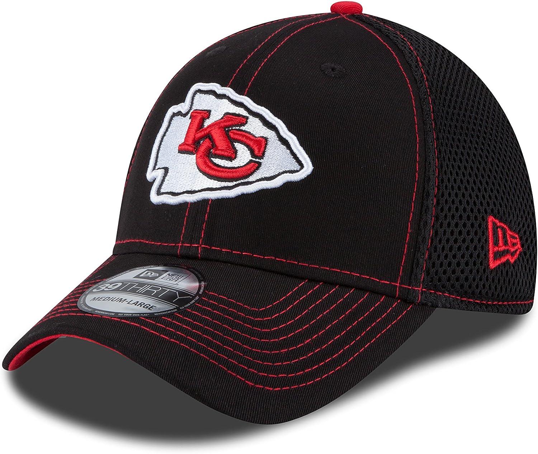 Kansas City Chiefs Noir New Era 39Thirty Stretch Cap