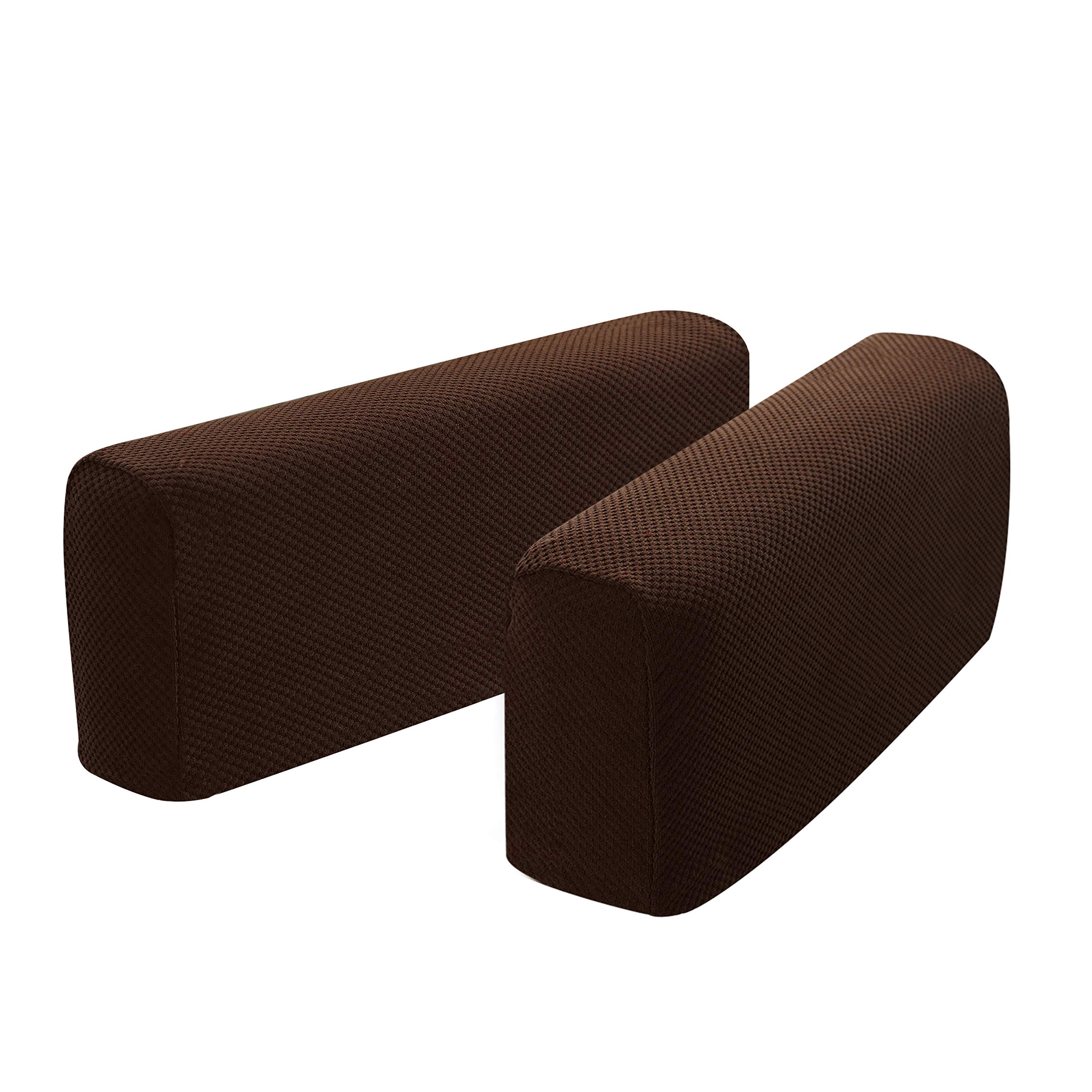 Hanhao Armrest Cover Ultra Thick and Soft Spandex Stretch Pixel Arm Cover for Recliners Sofas Chairs Loveseats Elastic Anti Slip Furniture Armrest Protector for Couch Set of 2 (Chocolate)