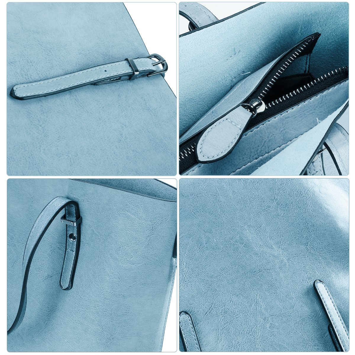 Women Top Handle Satchel Handbags Shoulder Bag Messenger Tote Bag Purse IUKIO (Light Blue) by IUKIO (Image #7)