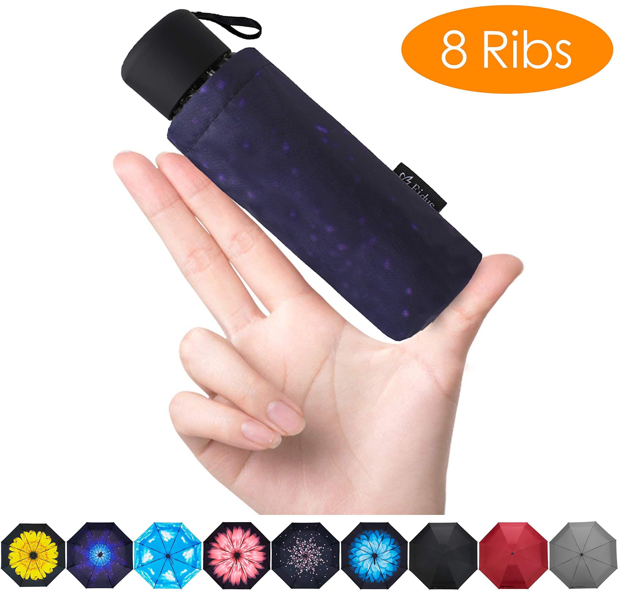 FidusUpgraded 8 Ribs Mini Portable Sun&Rain Lightweight WindproofUmbrella - Compact Parasol Outdoor Travel Umbrella for MenWomen Kids-Starry Sky by Fidus