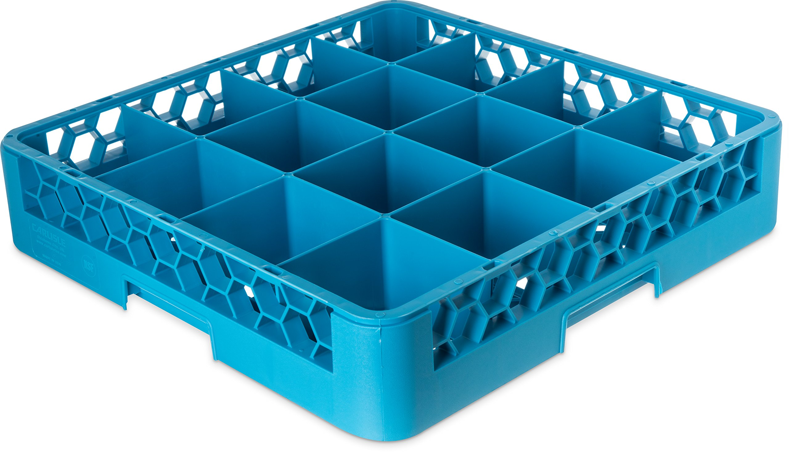 Carlisle RC1614 OptiClean Tilted 16 Compartment Cup Rack with 1 Extender, Blue (Pack of 4)