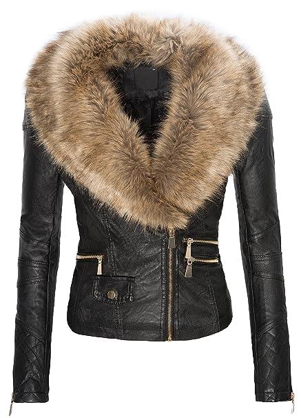 giacca donna ecopelle con pelliccia