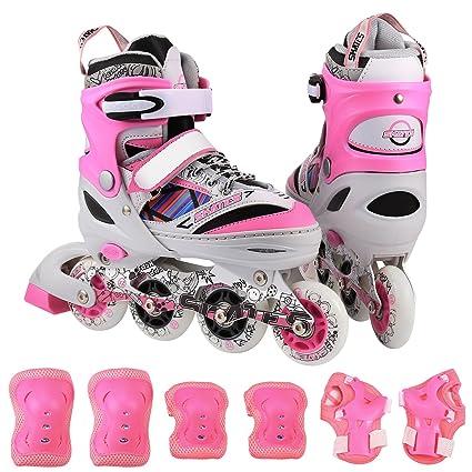 c52b4175589 ANCHEER Kids Adjustable Inline Skate Set Rollerblades With Protective Pads Roller  Skates For Boys/Girls
