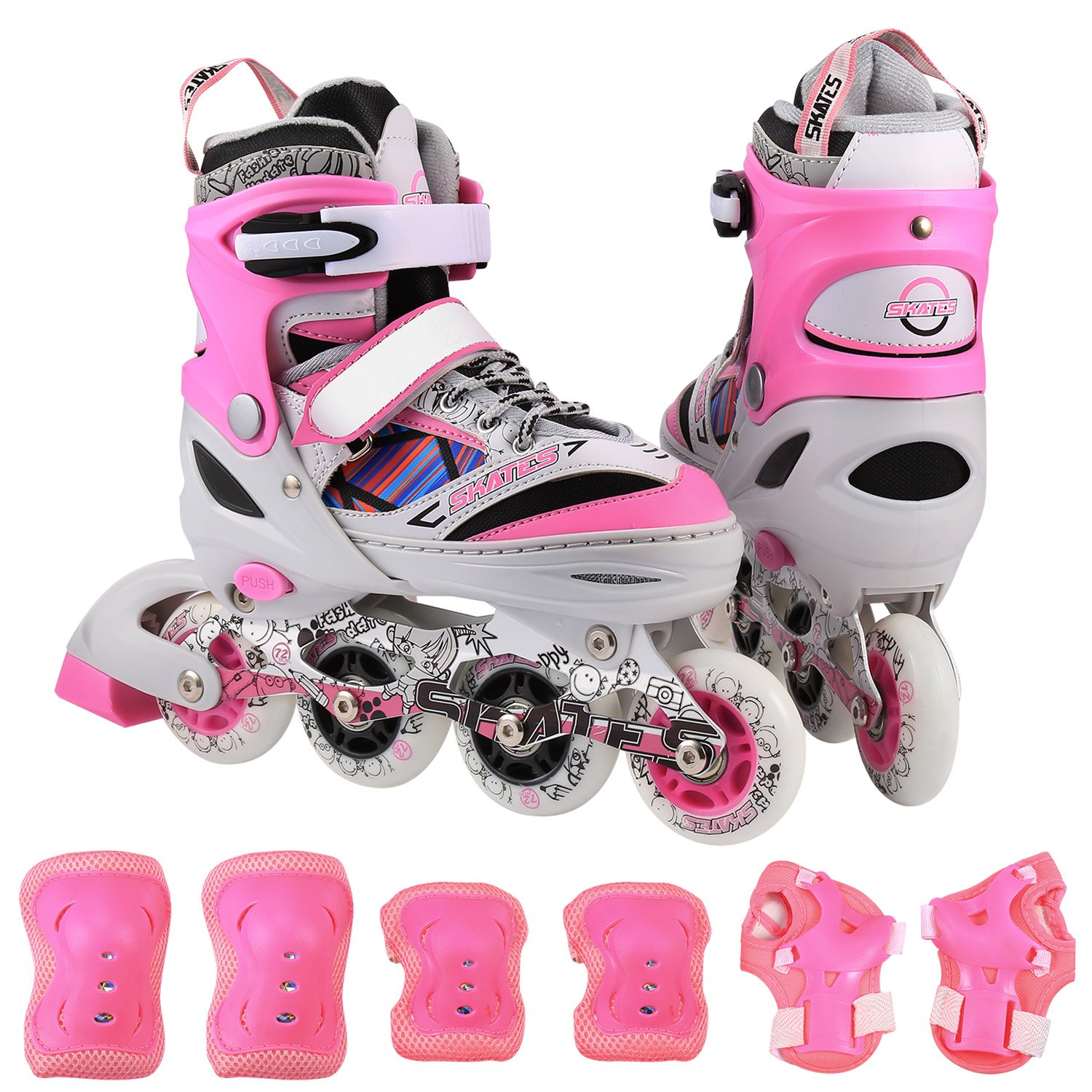 ANCHEER Kids Adjustable Inline Skate Set Rollerblades With Protective Pads Roller Skates For Boys/Girls/Adults Youth Outdoor Roller Skating Size 4 5 6 7