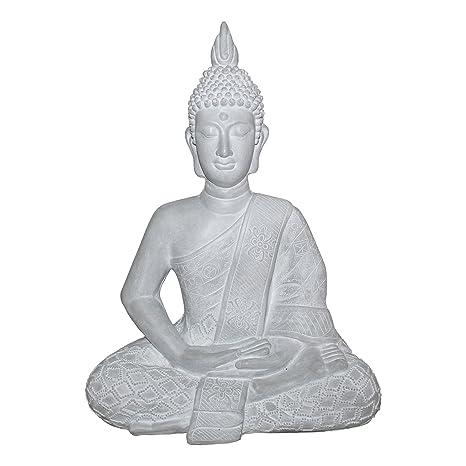 HOMEA 5dej1321bc Estatua Dibujo Buda Magnesia Blanco 47 x 30 x 60 cm