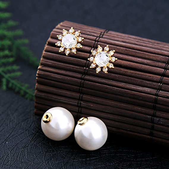 90bc4161c Amazon.com: ptk12 Convertible Crystal Flower Big Imitation Pearl Earrings  Studs Women Temperament Double Side Wedding Earrings Jackets: Home & Kitchen