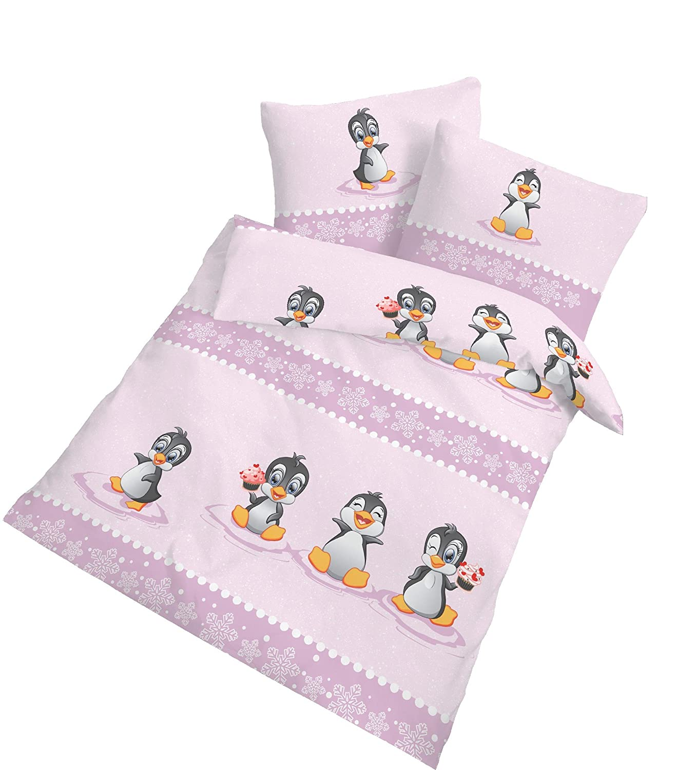 'Soft Flannel Baby Girls Bed Linen Plitsch Platsch Pinguin Penguin Winter Fun in Pink 100% Cotton – 40 x 60 + 100 x 135 cm Made in Germany Ido Dobnig