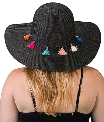 d75abeca H-2019-06 Embellished Floppy Beach Foldable Packable Sun Hat - Black Tassel