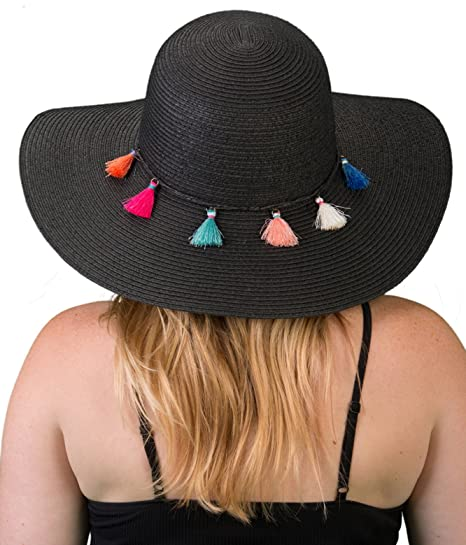 dbf657d6566 H-2019-06 Embellished Floppy Beach Foldable Packable Sun Hat - Black Tassel