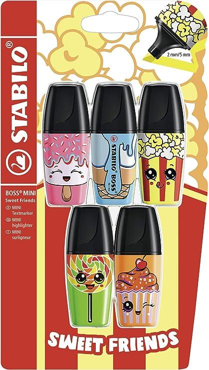 Marcador fluorescente STABILO BOSS MINI Sweet Friends - Pack con 5 colores - Edición Limitada: Amazon.es: Oficina y papelería