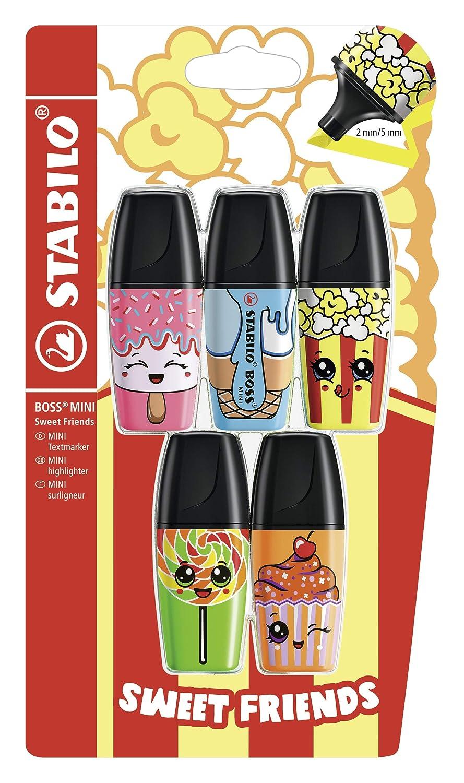 STABILO BOSS MINI Sweet Friends Pack da 3 Giallo Evidenziatore Arancione Rosa
