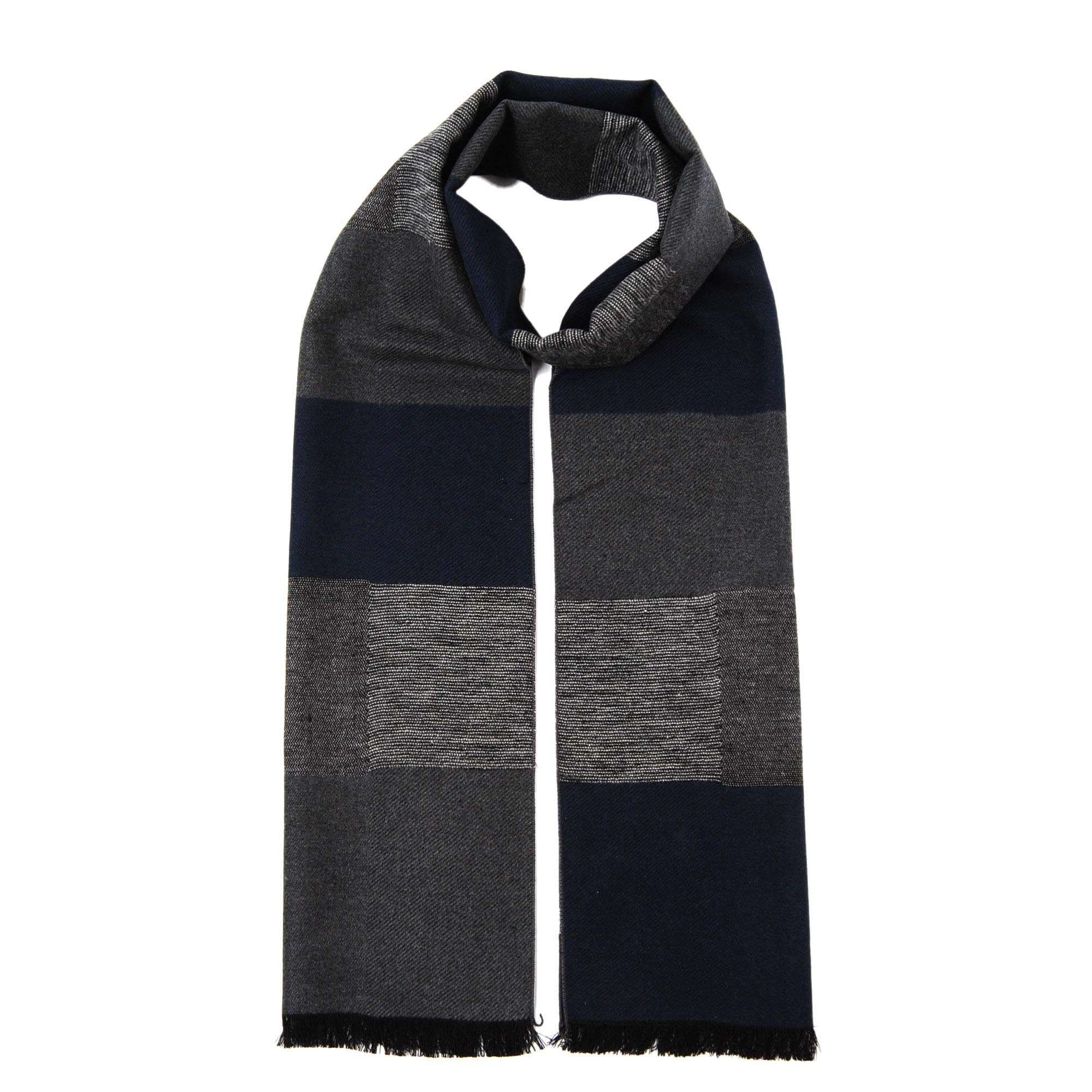 CUDDLE DREAMS Men's Silk Scarves, 100% Mulberry Silk Brushed, Luxuriously Soft (Plaid Navy Gray)