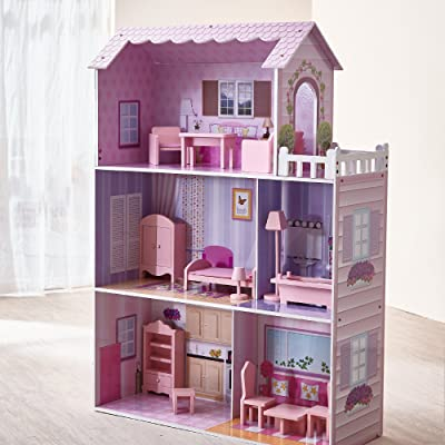 Teamson Kids - Fancy Mansion Wooden Dollhouse with 13 pcs Furniture for 12 inch Dolls: Toys & Games
