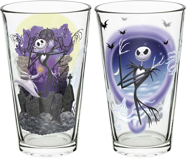 Zak Designs Nightmare Before Christmas Jack Skellington 2 Piece Pint Glass Set 16 Ounce