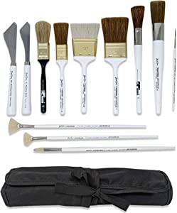 Bob Ross 13-Piece Landscape Painting Tools Bundle, 10x Paint Brushes, 2X Painting Knives, 1x Velono Roll-Up Paint Brush Case
