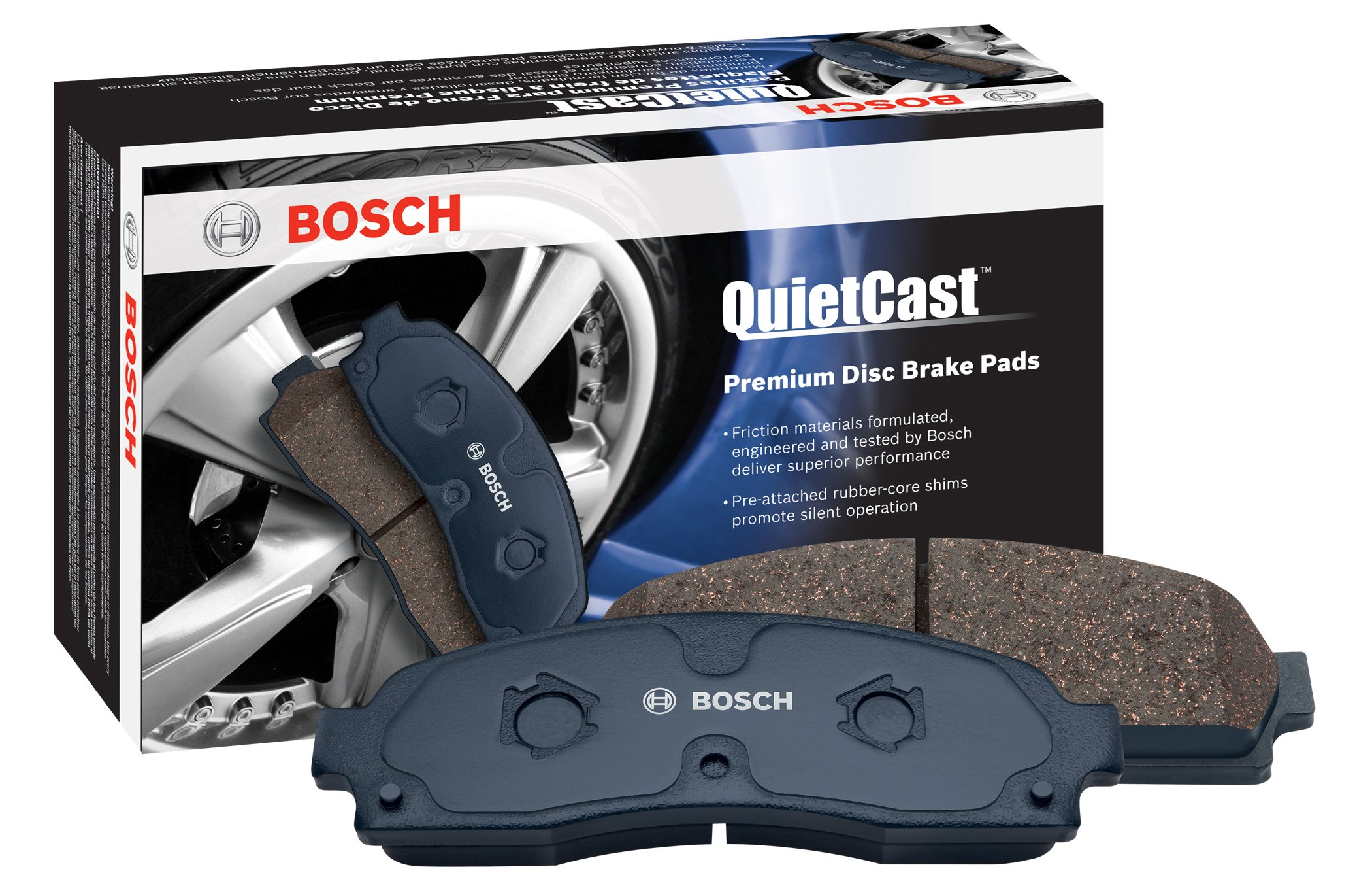 Bosch BP1263 QuietCast Premium Semi-Metallic Disc Brake Pad Set For Land Rover: 2006-2009 Range Rover, 2006-2009 Range Rover Sport; Front