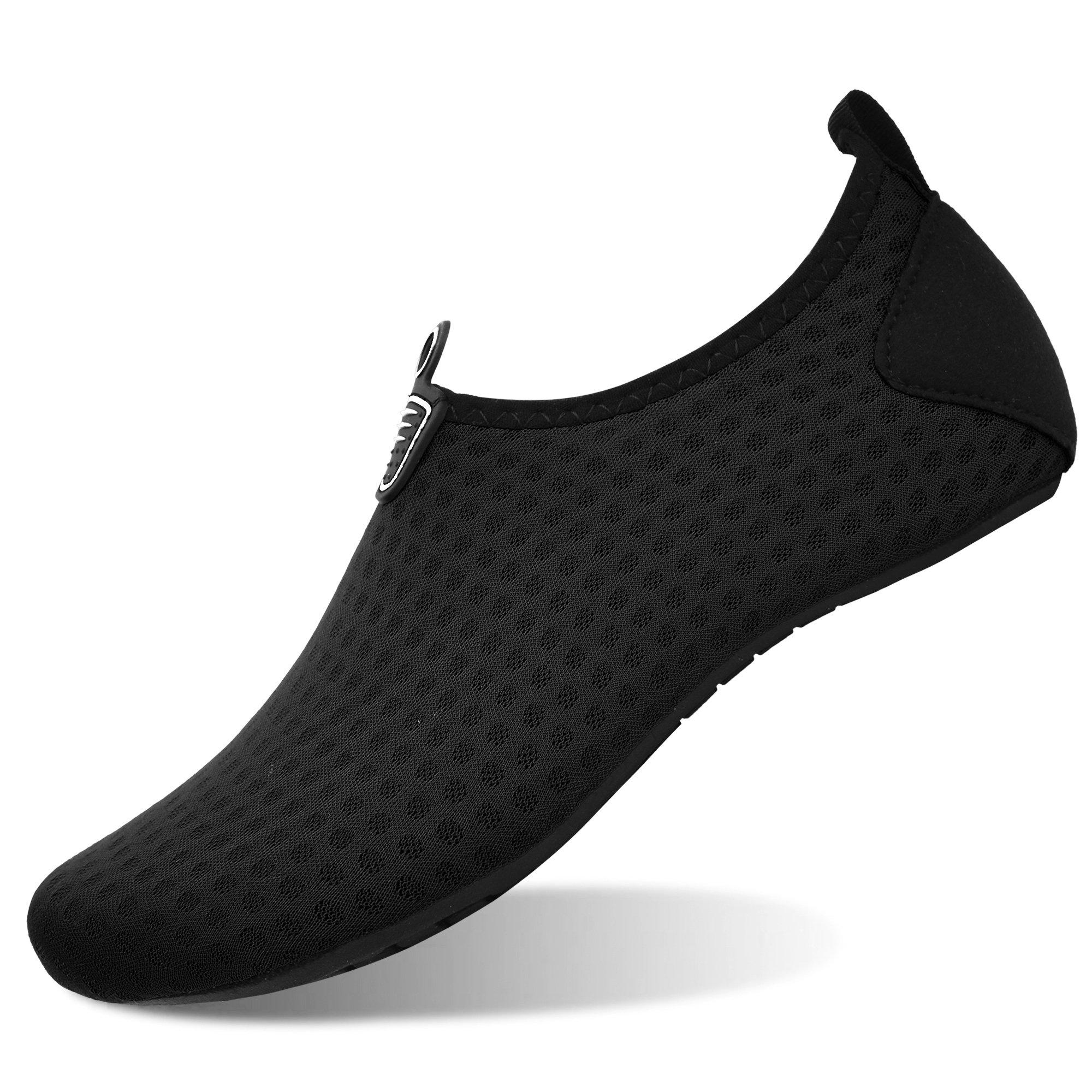 MoreDays Non-Slip Water Sport Shoes Light Barefoot Quick Dry Aqua Socks for Beach Pool Swimming Yoga Exercise Black 2XL