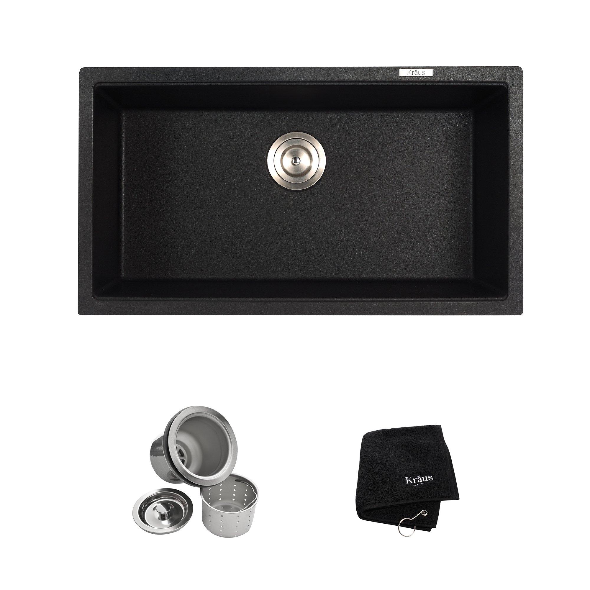 Kraus Kgu-413B 31 Inch Undermount Single Bowl Black Onyx Granite Kitchen Sink 22