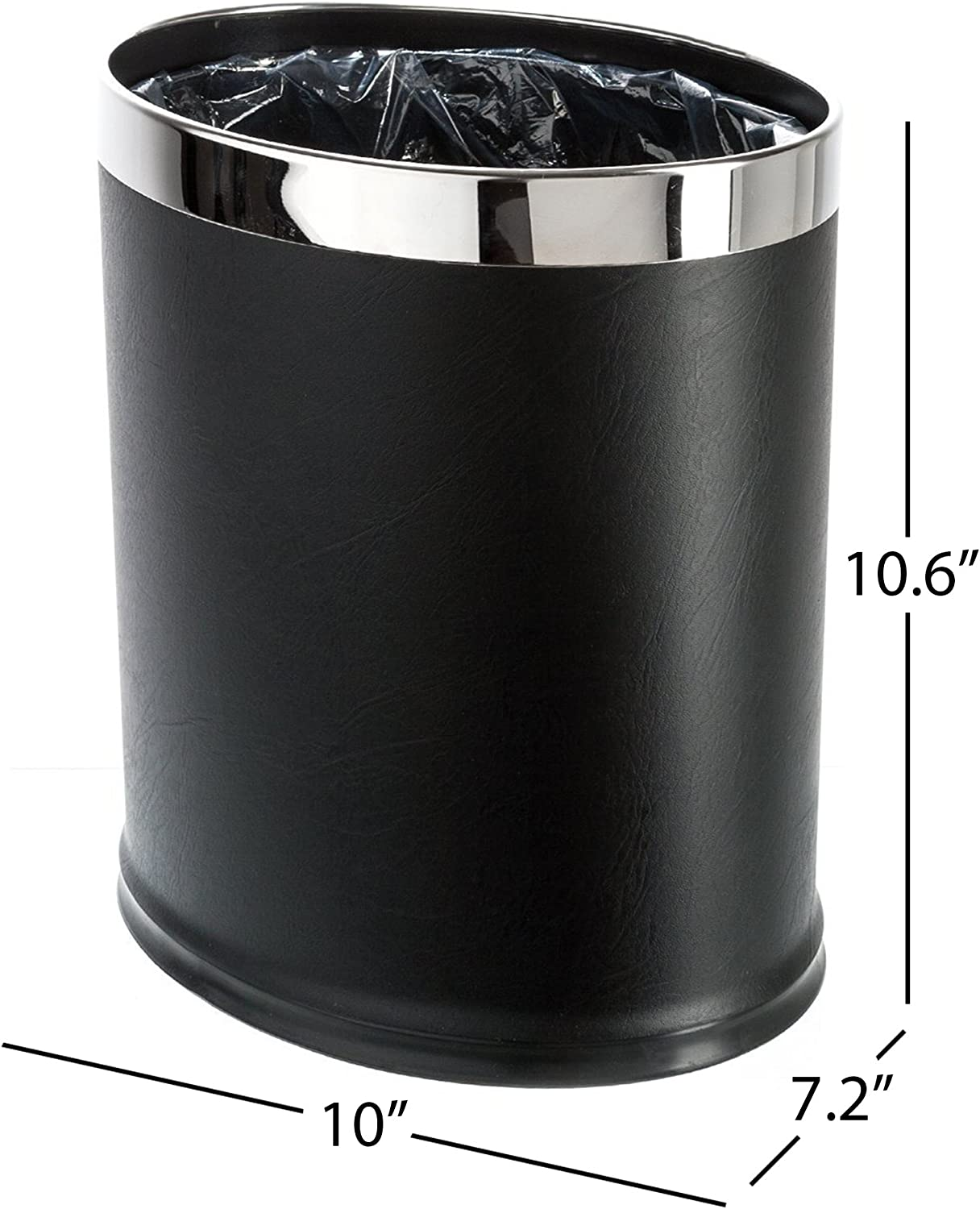 Brelso 'Invisi-Overlap' Open Top Leatherette Trash Can, Small Office Wastebasket, Modern Home Décor, Oval Shape (Black)