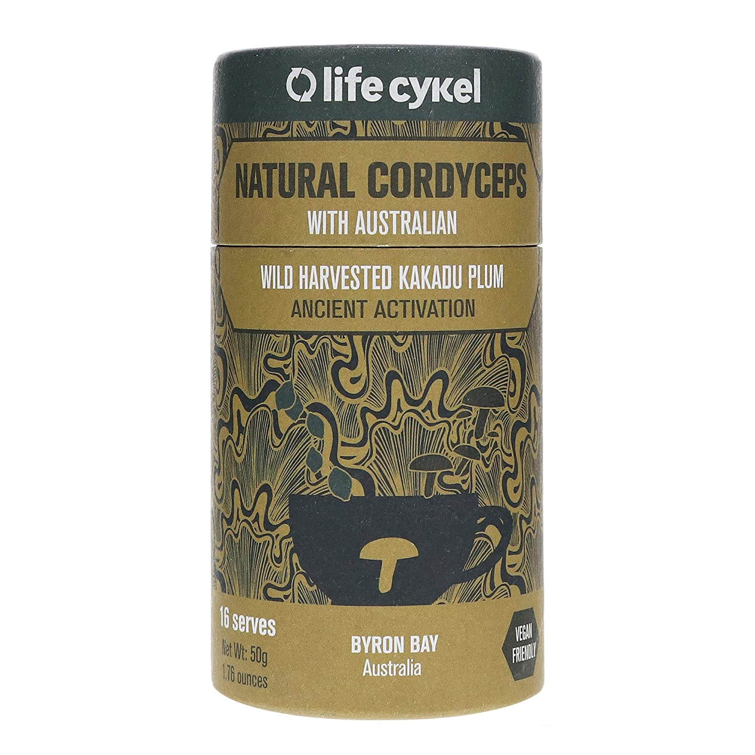 Life Cykel 100 Natural Cordyceps Mushroom with Australian Wild Harvested Kakadu Plum – Ancient Fuel for the Modern World – Energy, Improved Endurance and Daily Performance – 16 Servings – 50g