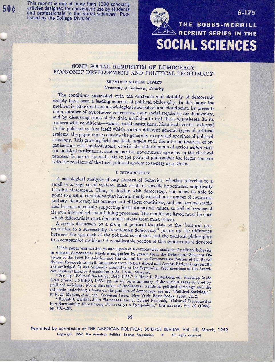 Some Social Requisites Of Democracy