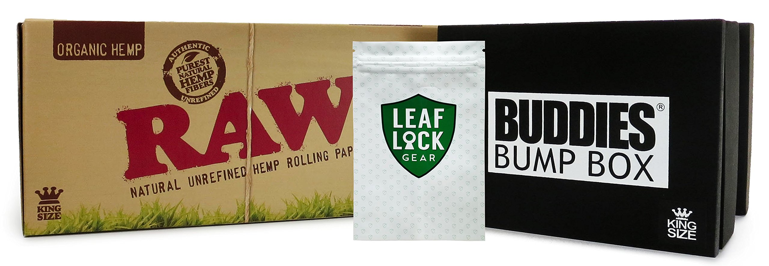 Bundle - 3 Items - RAW Organic King Size Pre-Rolled Cone 800 Pack (King Size), Buddies King Size Bump Box Cone Filler with Leaf Lock Gear Smell Proof Bag