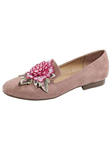 Liva Loop Damen Slipper mit filigraner Applikation am Blatt
