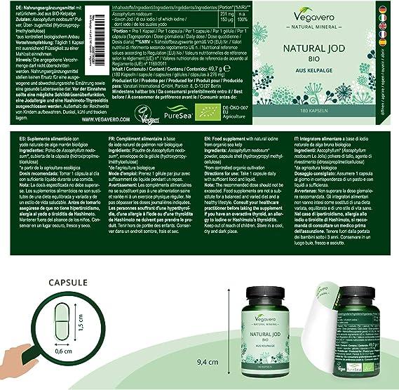 BIO Yodo Natural Vegavero® | 150 mcg=100% CDR | Sin Aditivos Artificiales | Procedente de Algas Marinas | Tiroides + Drenaje + Metabolismo* | 180 ...