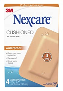 Nexcare Absolute Waterproof Adhesive Gauze Pad, 3 Inches X 4 Inches
