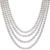 "HinsonGayle AAA Handpicked White Freshwater Cultured Pearl Rope Necklace 82"" Infinity Strand"